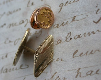 French antique art nouveau sleeve button Cuff Links flower ornate engraved  man jewelry man shirt chic