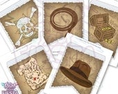 Treasure Hunter Indiana Jones inspired banner - complete abc, 26 pennants, hat, whip, old map, treasure chest, create your own message