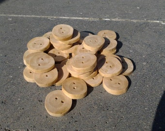 Olive wood buttons without bark, diameter around 2 cm