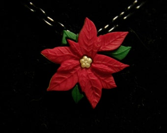 Poinsettia Christmas Theme Necklace