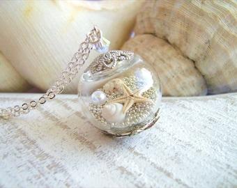 Starfish Necklace, Seashell Necklace, Seashell Pendant, Starfish Jewelry, Beach Wedding, Summer Beach Jewelry, Bridesmaids Necklace