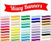 50 wavy clip art banners, scrapbooking flags, digital scrapbook supplies, digi scrap DIGITAL DOWNLOAD SB-255