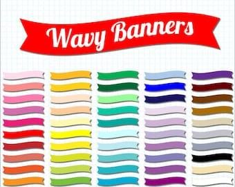50 wavy clip art banners, scrapbooking flags, digital scrapbook supplies, digi scrap DIGITAL DOWNLOAD SB-255