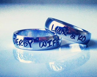 "DERBY WIFE ring, Personalized Ring, Engraved Ring, Roller Derby, "" Wedding Band Style"", name Ring, Class Ring WBSS01"