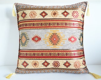 Ottoman pillow vintage style tribal turkish kilim patterned pillow cover ethnic traditional anatolian embossed velvet home bedroom decor