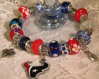 Houston Texans Licensed Charm on a European Style Bracelet
