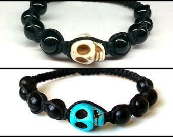 SKULL Shamballa Bracelet with Beads for men and women, guy and girl adjustable & stackable Lusnyak