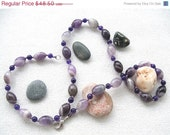 ON SALE Christmasinjuly CIJ Amethyst Classic Necklace, Natural Gemstone,  Hand Beaded Necklace, Birthstone, Purple Jewelry - SanaGem