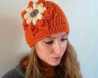 Crochet hat with large flower