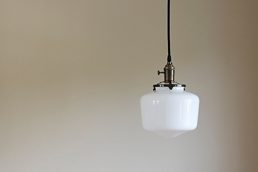 pendant light fixture school house white glass globe. Black Bedroom Furniture Sets. Home Design Ideas