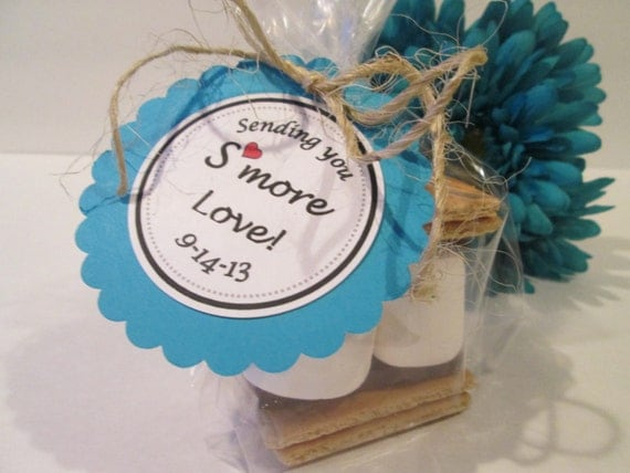 24 S'more Love Wedding Favor Kits - DOUBLE SIDED TAGS