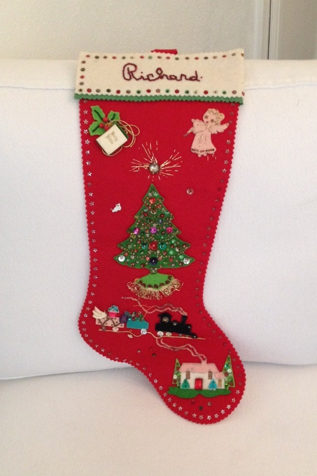 Vintage 1965 Felt Stocking Christmas Handmade By Mayavintage