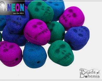 4 pcs UV Active Dark Neon MIX Czech Skull Bead, 12x10 mm