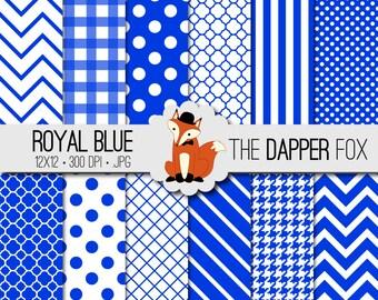 Royal Blue Digital Paper Pack - INSTANT DOWNLOAD - 12x12 - chevron, stripes, dots, quatrefoil