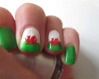 Welsh Dragon Nail Art Decal Stickers - Please read item details before purchase