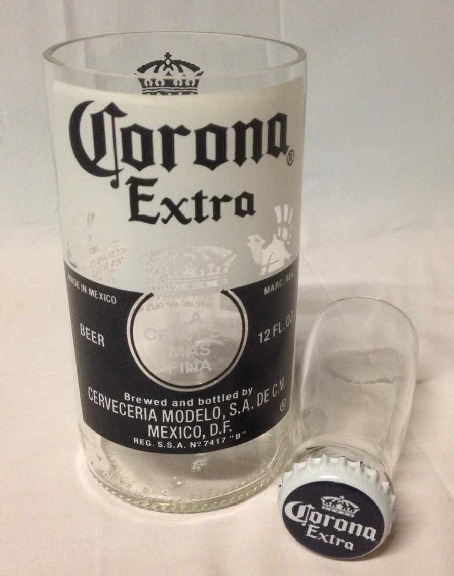 Upcycled beer bottle shot glass chaser set corona recycled for How to make corona glasses