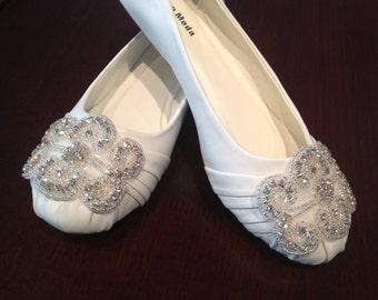 Sample Sale Flat Bridal Shoe,Rhinestone Shoe,Wedding Shoe, Flat Rhinestone  Shoe size 6
