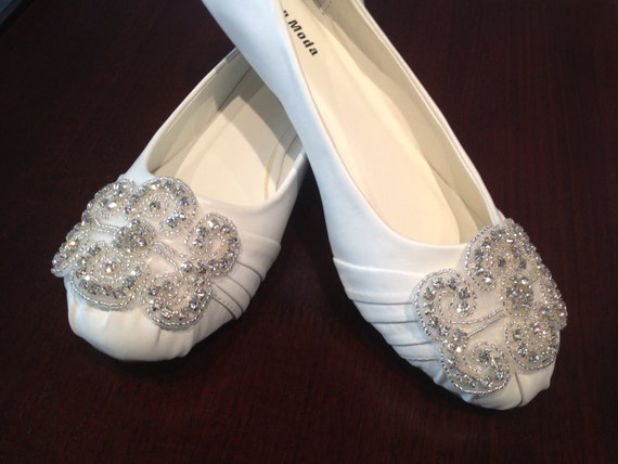 Flat Bridal Shoe,Rhinestone Shoe,Wedding Shoe, Flat Rhinestone  Shoe size 6