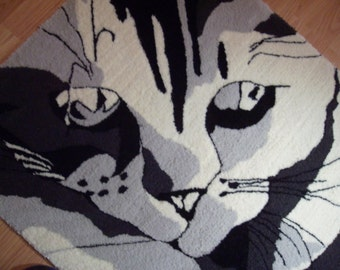 RUG- Black and White with Gray Custom KITTEN/ CAT Rug