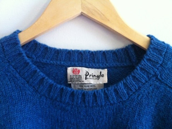 Vintage PRINGLE Sweater - Bright Blue - Wool - Made in Scotland - Pullover - Boyfriend - Slouchy - Excellent - Warm - Layer - Men L, Wom XL