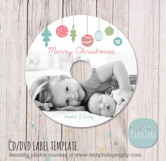 christmas cd dvd label photoshop template ec004 instant download. Black Bedroom Furniture Sets. Home Design Ideas