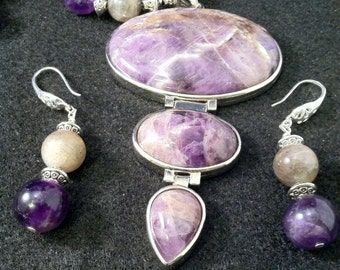 Labradorite and Amethyst Set/  Labradorite, Amethyst & Sodlaite 3-Piece Set/ Statement Necklace