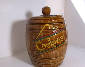 Vintage Brown Barrel Cookie Jar