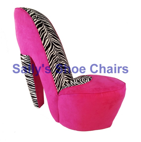 items similar to pink and zebra high heel shoe chair