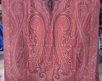 Paisley Shawl, Antique 1800's, 60 by 128 inches