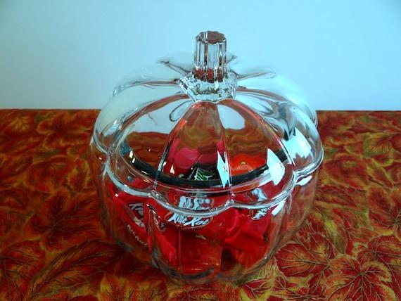 Vintage Anchor Hocking Glass Covered Pumpkin Shape Jar Clear