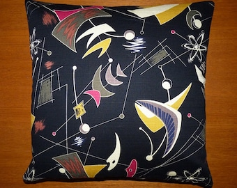 """Barkcloth repro - Mid-century Modern design accent pillow 17"""" x 17"""" feather/down insert included"""