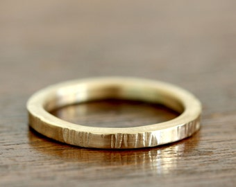 14k Gold tree bark wedding ring