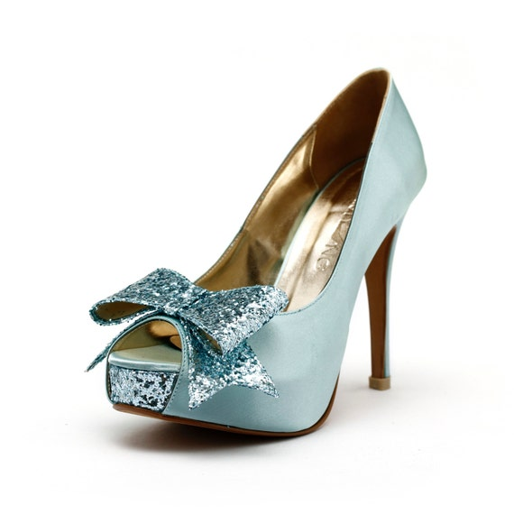Tiffany Blue Wedding Heels, Robbin Blue Egg Wedding Shoes with Glitter,  Something Blue Wedding Heels, Mint Green Wedding Shoes