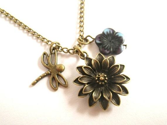 Petit jardin long necklace vintage style for Jardin necklace