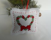 Christmas tree ornament, cross stitch Christmas decoration, holiday decor, Xmas wreath, Xmas holly, hanging ornament, country style.