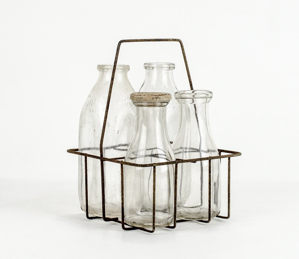 antique milk bottles with wire carrier. Black Bedroom Furniture Sets. Home Design Ideas