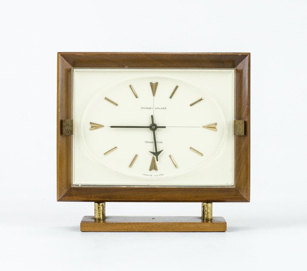 Vintage Mid Century Modern Desk Clock Phinney Walker German