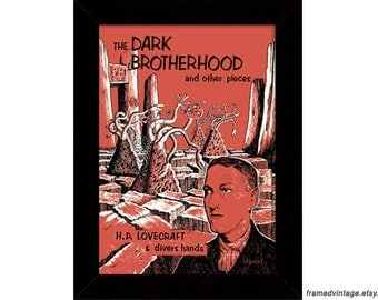 The Dark Brotherhood and Other Places, H. P. Lovecraft Framed Print, Framed Art Print, Cthulhu, Arkham House, Fantasy Art Print, Macabre