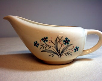 Lovely vintage gravy boat-blue cornflowers with tiny pink berries-gold rim-mid century-blue-gray-pink