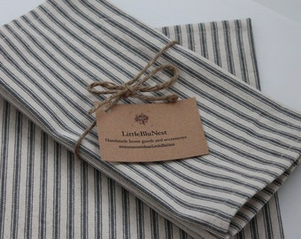 Cloth napkins,striped cloth napkins , gray and natural  ticking stripe, french ticking gray stripe,  luncheon napkins
