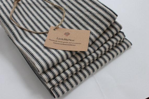 Cotton fabric french ticking stripe napkins, black and natural striped napkins, farmhouse style table setting napkins