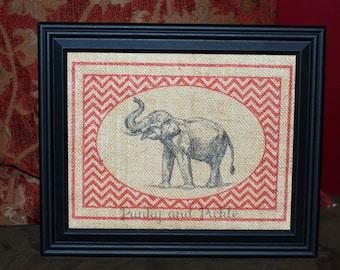 Burlap Elephant, Burlap Art, Burlap Sign 8x10, Burlap