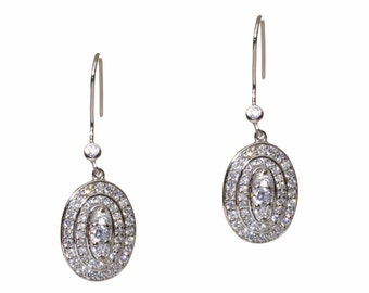 Silver Oval Drop CZ Earrings