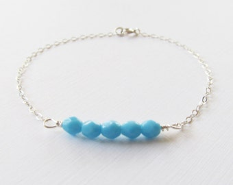 Sterling Silver Blue Beaded Bracelet, Sterling Silver Bracelet, Gift for her