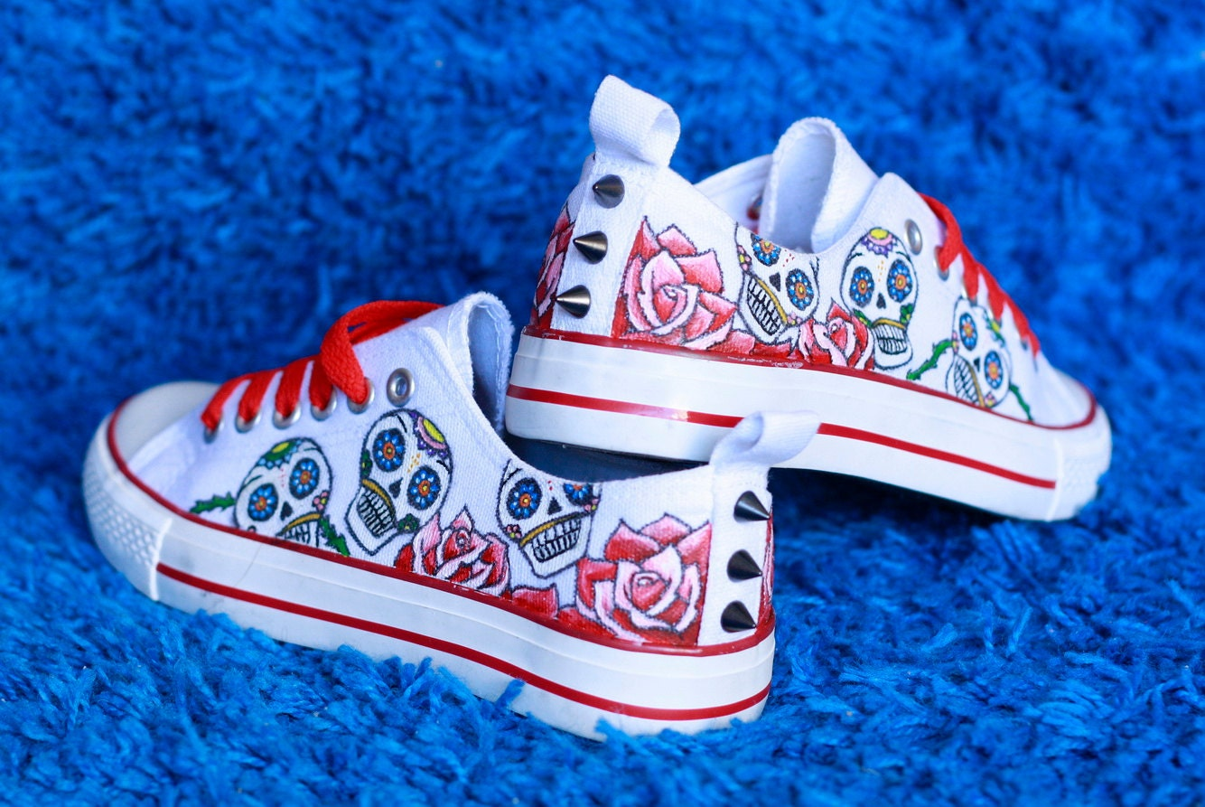 Sugar skull / Mexican skull converse style shoes customized