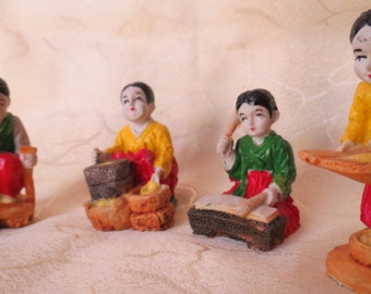 FourTraditional Hand Painted Asian Domestic Workers in Miniature