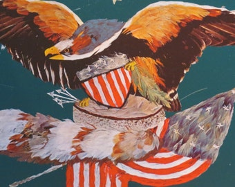 Biscuit Tin Lid Tray Americana with Eagle, American Flag, Shield and Coon Skin Cap