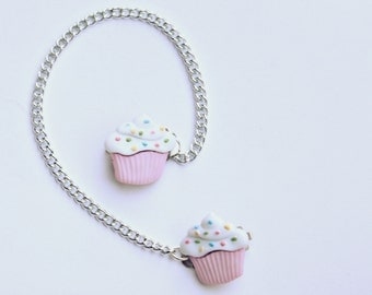 Cute Vintage Inspired Tiny Pink Cupcake Sweater Clips or Collar Chain/Collar Clip