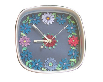 Pastel Blue Art Wall Clock, Paper Quilling Art, Wall Clock, Kitchen Clock, Quilled home decoration, Wall decor, Wall Art, Home Decor