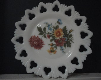 Floral Milkglass Plate Circa 1960s by Kemple